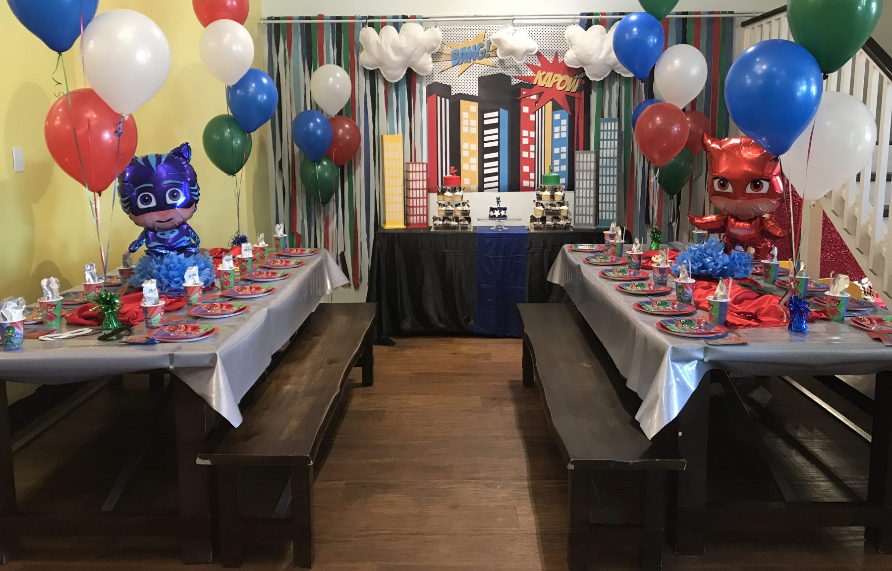 PJ Masks Birthday Cake - Complete Party DIY Plan, shopping guide, ideas and inspo! Super Gekko, Luna Girl, Owlette, and more! Cake table, backdrops, toppers, DIY! #pjmasksparty #pjmasks #supergekkoparty #supergekko #gekkocake #diy #diyparty #partyideas #kidsparties #genderneutralparties #partyfavors