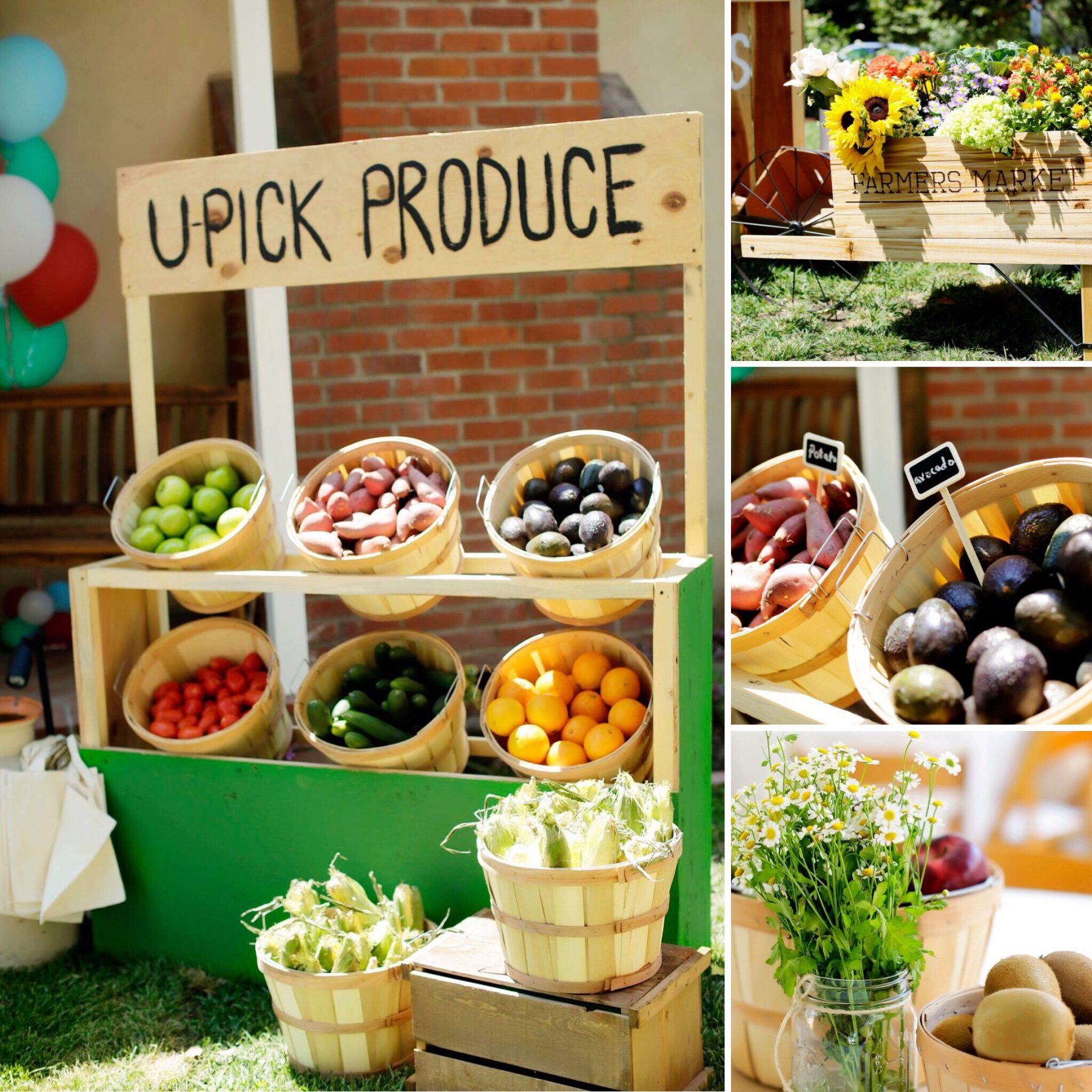 this unique Farmers Market Birthday Party is warm, charming and fun for the kids