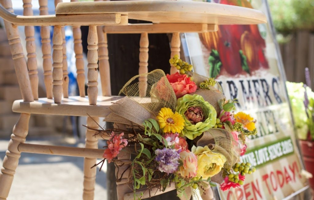 Decorated High Chair Farmers Market Birthday Party