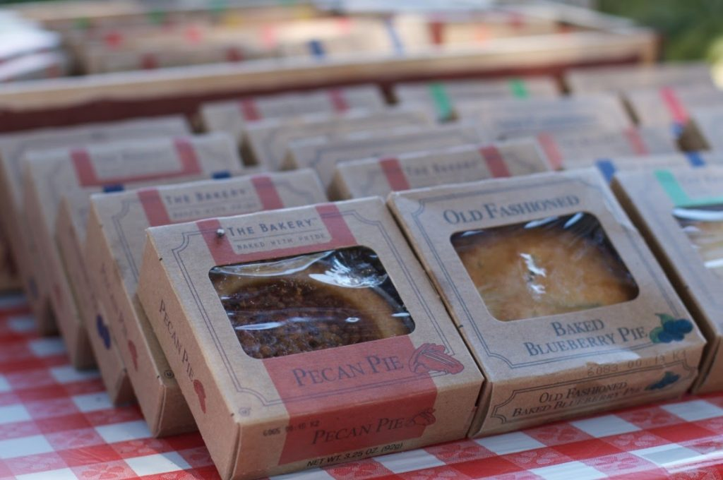 Farmers market theme dessert take home favor mini pie