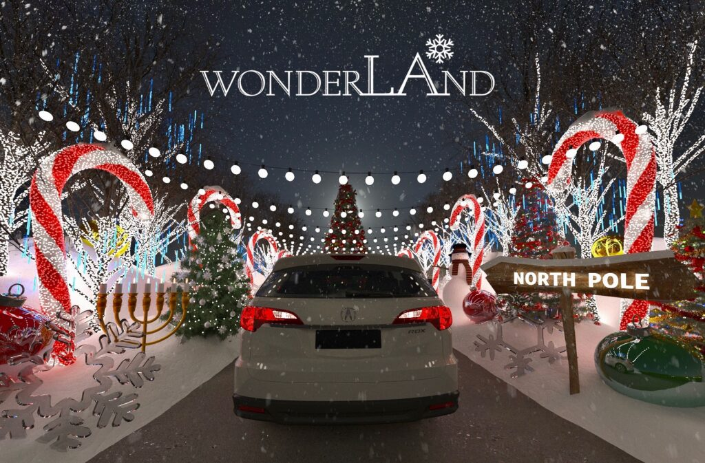 WonderLAnd drive-thru holiday and Christmas lights experience is open and socially distanced - one of many open Los Angeles Holiday Season 2020 Events.