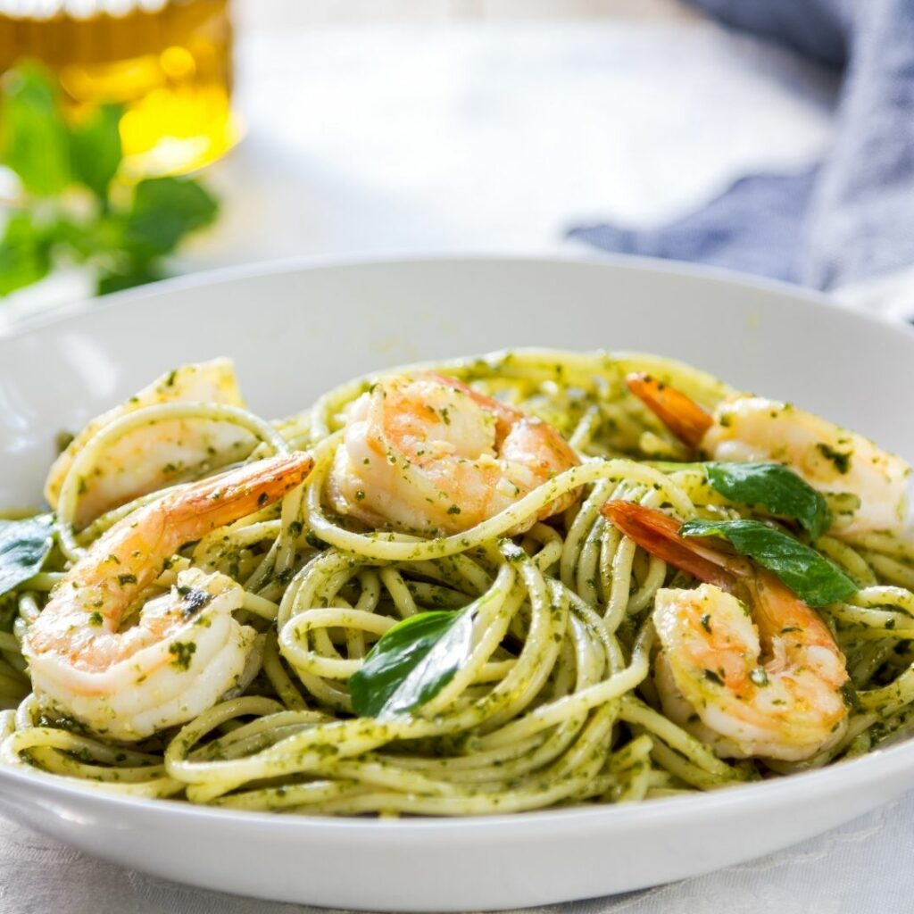 Pesto Shrimp with Spaghetti - 10 Quick and Easy Meals Using Kirkland Signature Basil Pesto Sauce from Costco