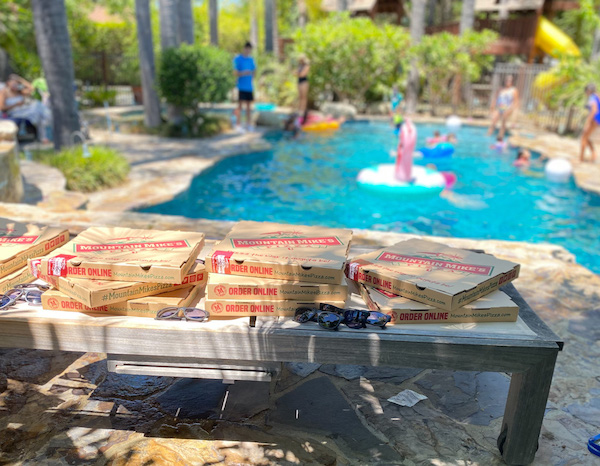 Mountain Mikes Pizza delivered to our Swimply pool play date in Los Angeles. YUMM!